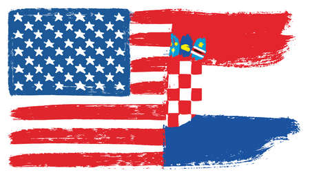 United States of America Flag & Croatia Flag Vector Hand Painted with Rounded Brush Illustration