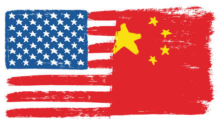 United States of America Flag & China Flag Vector Hand Painted with Rounded Brush Illustration