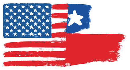 United States of America Flag & Chile Flag Vector Hand Painted with Rounded Brush