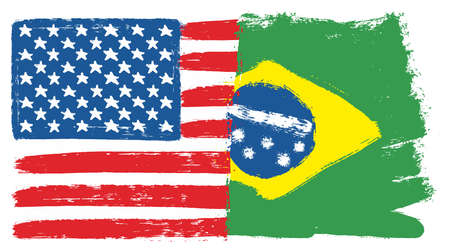United States of America Flag & Brazil Flag Vector Hand Painted with Rounded Brush Illustration