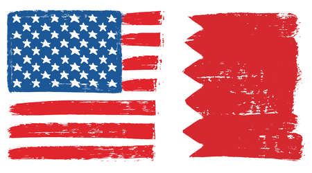 United States of America Flag & Bahrain Flag Vector Hand Painted with Rounded Brush