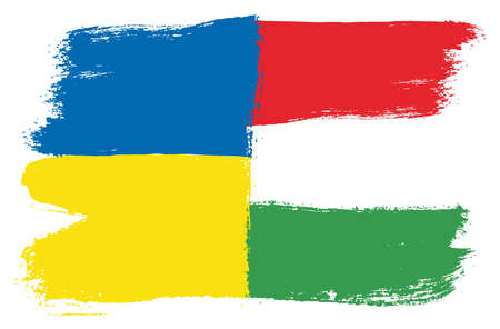 Ukraine Flag & Hungary Flag Vector Hand Painted with Rounded Brush