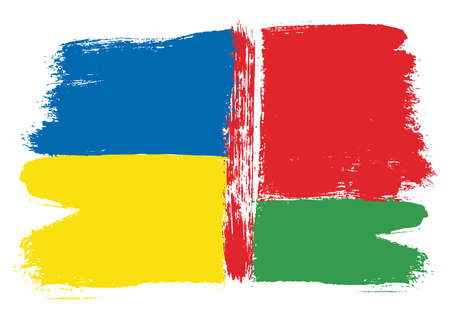 Ukraine Flag & Belarus Flag Vector Hand Painted with Rounded Brush