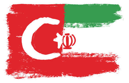 Turkey Flag & Iran Flag Vector Hand Painted with Rounded Brush Illustration