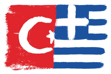 Turkey Flag & Greece Flag Vector Hand Painted with Rounded Brush