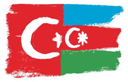 Turkey Flag & Azerbaijan Flag Vector Hand Painted with Rounded Brush Illustration