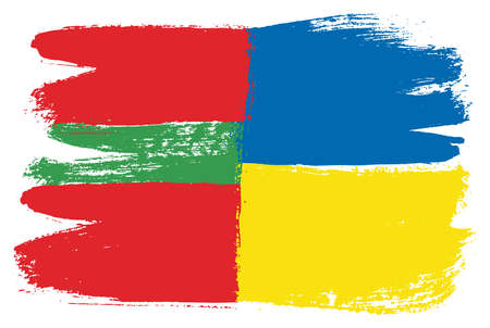 Transnistria Flag & Ukraine Flag Vector Hand Painted with Rounded Brush