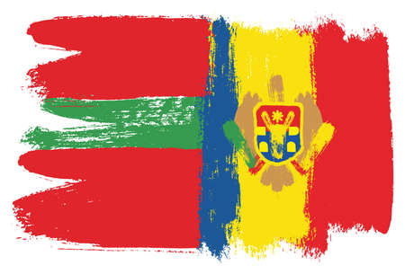 Transnistria Flag and Moldova Flag Vector Hand Painted with Rounded Brush