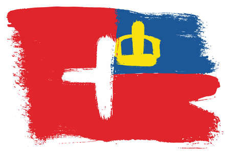 Switzerland Flag and Liechtenstein Flag Vector Hand Painted with Rounded Brush Illustration