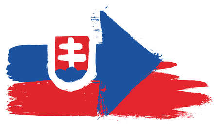 Slovakia Flag and Czech Republic Flag Vector Hand Painted with Rounded Brush