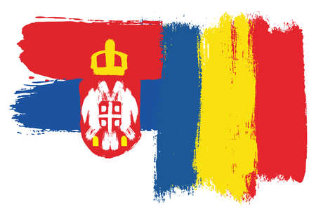 Serbia Flag and Romania Flag Vector Hand Painted with Rounded Brush Çizim