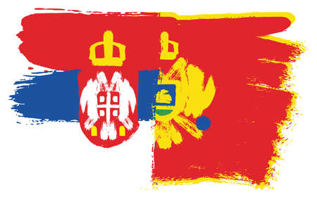 Serbia Flag and Montenegro Flag Vector Hand Painted with Rounded Brush