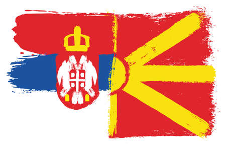 Serbia Flag and Macedonia Flag Vector Hand Painted with Rounded Brush