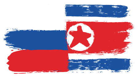 Russia Flag & North Korea Flag Vector Hand Painted with Rounded Brush