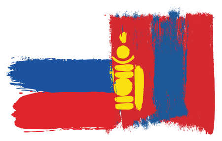 Russia Flag & Mongolia Flag Vector Hand Painted with Rounded Brush