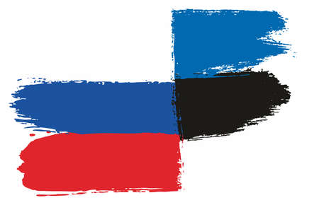 Russia Flag & Estonia Flag Vector Hand Painted with Rounded Brush
