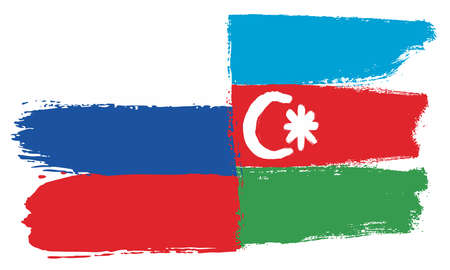 Russia Flag & Azerbaijan Flag Vector Hand Painted with Rounded Brush