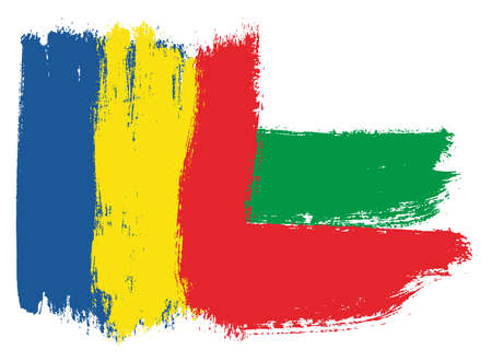 Romania Flag & Bulgaria Flag Vector Hand Painted with Rounded Brush
