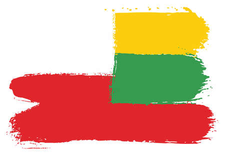 Poland Flag & Lithuania Flag Vector Hand Painted with Rounded Brush Illustration