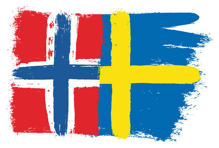 Norway Flag & Sweden Flag Vector Hand Painted with Rounded Brush