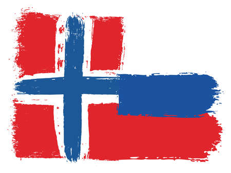 Norway Flag & Russia Flag Vector Hand Painted with Rounded Brush Illustration