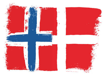 Norway Flag & Denmark Flag Vector Hand Painted with Rounded Brush Illustration