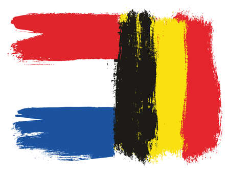 Netherlands Flag & Belgium Flag Vector Hand Painted with Rounded Brush Illustration
