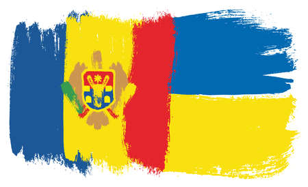 Moldova Flag,  Ukraine Flag Vector Hand Painted with Rounded Brush