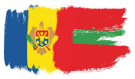 Moldova Flag,  Transnistria Flag Vector Hand Painted with Rounded Brush