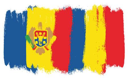 Bandera de Moldavia, bandera de Rumania Vector pintado a mano con pincel redondeado
