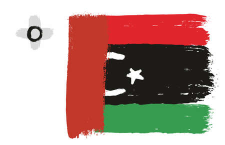 Malta Flag,   Libya Flag Vector Hand Painted with Rounded Brush Illustration