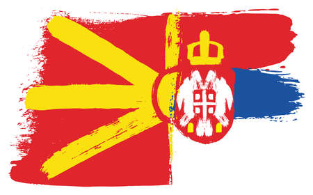 Macedonia Flag,   Serbia Flag Vector Hand Painted with Rounded Brush