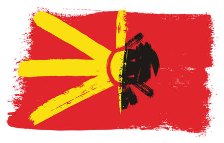 Macedonia Flag,   Albania Flag Vector Hand Painted with Rounded Brush