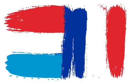 Luxembourg Flag,   France Flag Vector Hand Painted with Rounded Brush