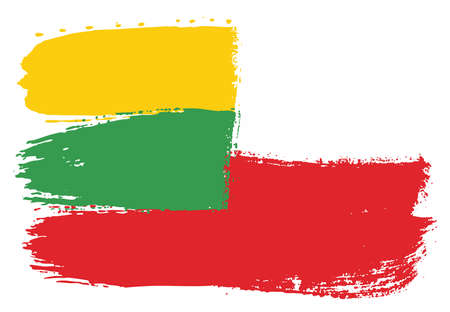 Lithuania Flag & Poland Flag Vector Hand Painted with Rounded Brush Illustration