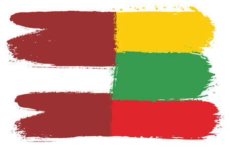 Latvia Flag & Lithuania Flag Vector Hand Painted with Rounded Brush
