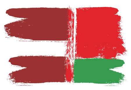 Latvia Flag & Belarus Flag Vector Hand Painted with Rounded Brush Illustration