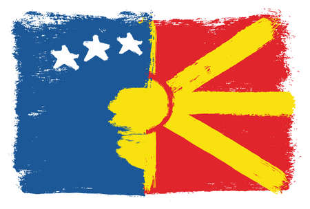 Kosovo Flag & Macedonia Flag Vector Hand Painted with Rounded Brush
