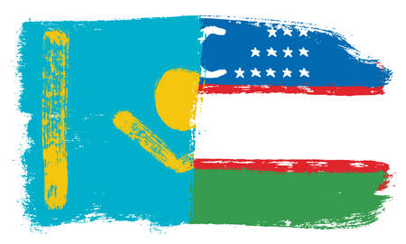Kazakhstan Flag,  Uzbekistan Flag Vector Hand Painted with Rounded Brush