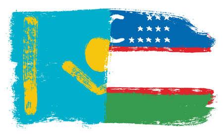 Kazakhstan Flag,  Uzbekistan Flag Vector Hand Painted with Rounded Brush