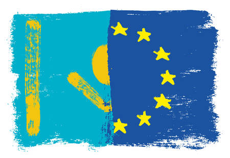 Kazakhstan Flag, European Union Flag Vector Hand Painted with Rounded Brush Illustration