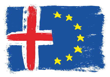 Iceland Flag & European Union Flag Vector Hand Painted with Rounded Brush
