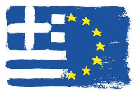 Greece Flag & European Union Flag Vector Hand Painted with Rounded Brush
