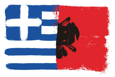 Greece Flag & Albania Flag Vector Hand Painted with Rounded Brush