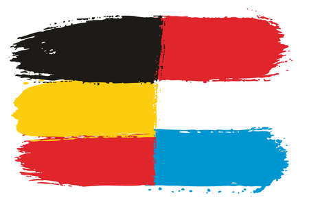 Germany Flag & Luxembourg Flag Vector Hand Painted with Rounded Brush Illustration