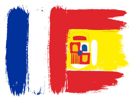 France Flag & Spain Flag Vector Hand Painted with Rounded Brush Çizim