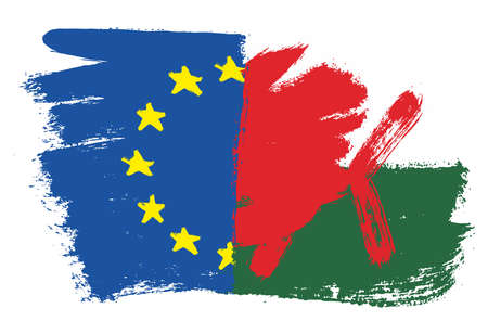 European Union Flag & Wales Flag Vector Hand Painted with Rounded Brush Illustration
