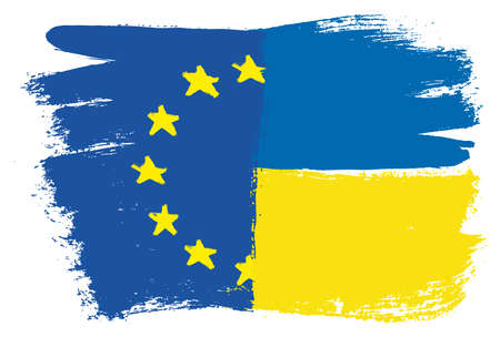 European Union Flag & Ukraine Flag Vector Hand Painted with Rounded Brush