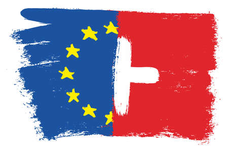 European Union Flag & Switzerland Flag Vector Hand Painted with Rounded Brush