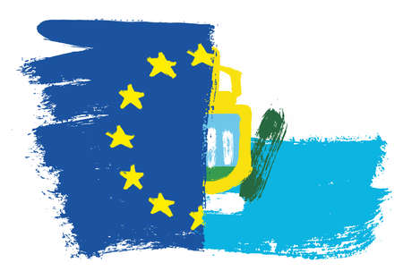 European Union Flag & San Marino Flag Vector Hand Painted with Rounded Brush